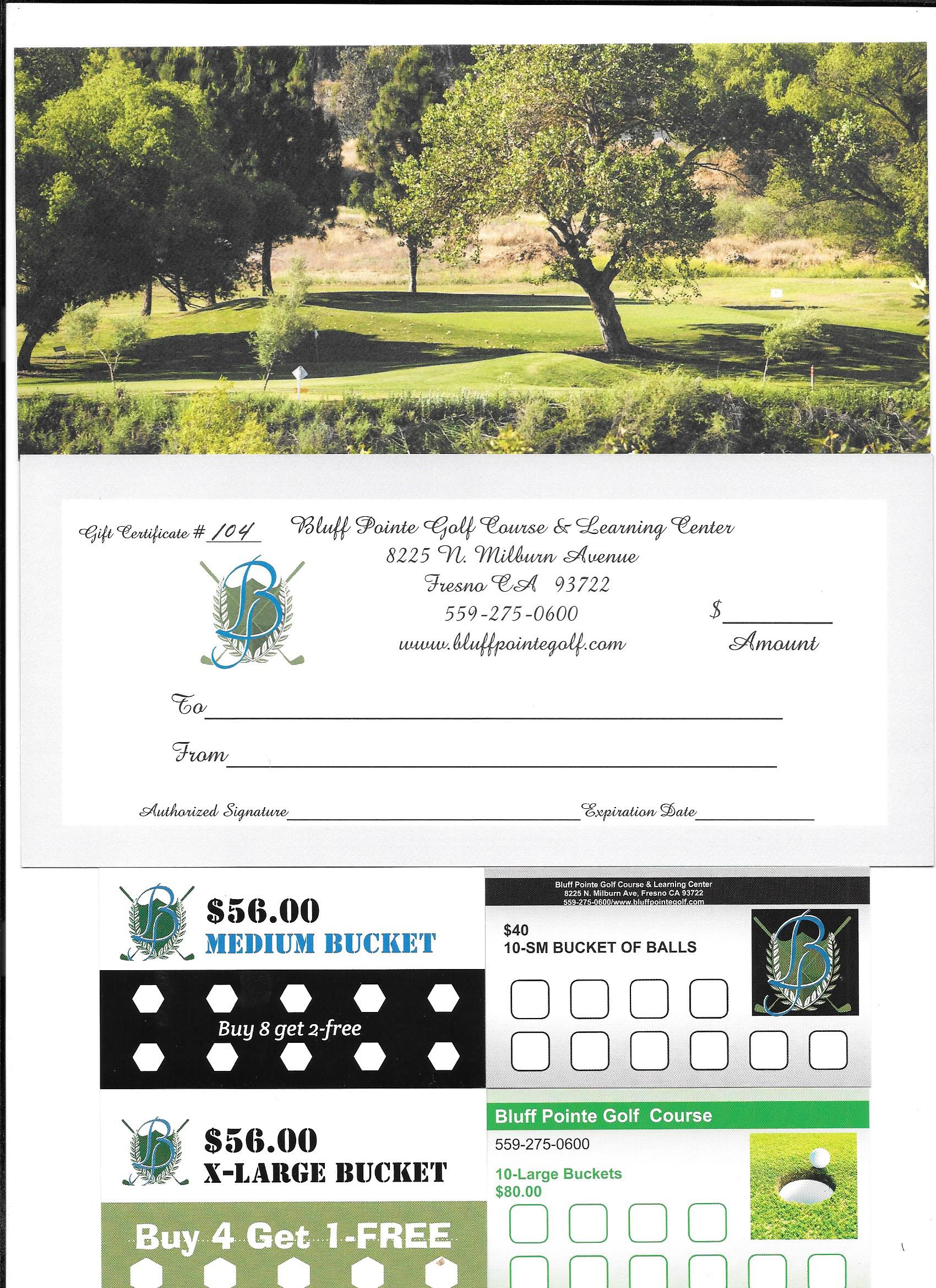 Gift Certificates Bluff Pointe Golf Course